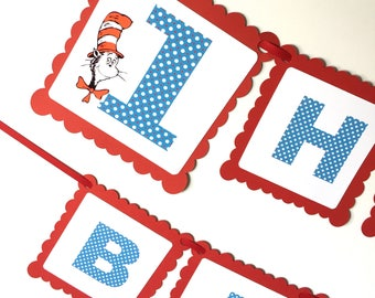 Cat in the Hat Seuss Theme Birthday Party Banner, Happy Birthday Banner, FAST SHIPPING, Birthday Party Decor, Customize with Name