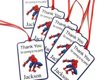 Set of 15 Thank You Party Favor Tags, Spiderman Personalized Birthday Party Favors Tags Thank You Gift Tags, Super Hero Party Supplies