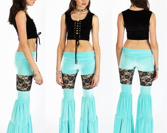 SALE SMALL Long Turquoise Velvet Peekaboo Flow Pants with Black Lace