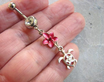 Tropical Belly Ring, Pink Plumeria Flower and Silver Sea Turtle Belly Button Ring, Navel Piercing, Surgical Stainless Steel Belly Bar