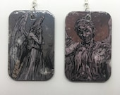 Upcycled Doctor Who Weeping Angels Comic Book Earrings