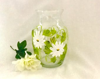 Hand painted daisies on glass vase