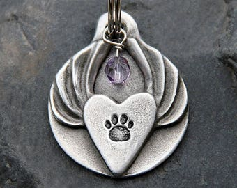Personalized Pet Tags Pet ID Tags Dog Name Tag Jewelry for Dog Collar Tag Dog Tags Dog ID Tag Paw Print Heart With Wings
