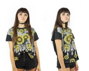 ON SALE Threadbare 90s Sunflower T-Shirt, Black Vintage Screenprint Tee, Sunflower Floral Print, 90s Boho, Grunge, Women's Size Large