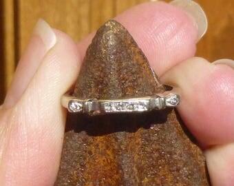 Art Deco Vintage Deco .10 Ct Diamonds 14kt White Gold Engagement Ring Wedding Band Stacker band