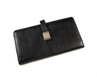 Womens large bi-fold wallet clutch / retro black faux leather w/ kiss lock coin purse