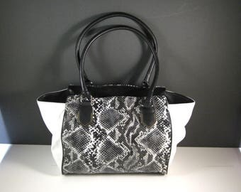 Black and White Faux Snakeskin Shopper Tote / Nice Large Size