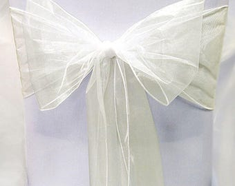 Ivory Chair Sashes 50  Wedding Chair Sashes Chair Bows Ivory Organza Pew Bows Party Bows Event