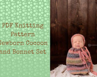 easy knitting pattern for newborn baby cocoon and bonnet knit on straight needles