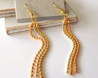 Retro Mixed Metal Silver Gold Copper Ball Bead Chain Tassel Dangle Earrings Z41
