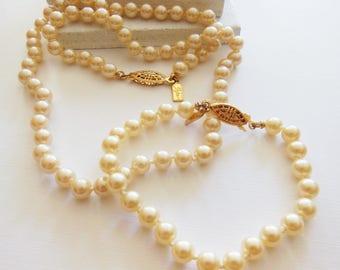Vintage Signed Sujen Traditional Knotted Glass Pearl Necklace Bracelet Set AA44