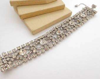 Vintage Signed By Gale Clear Rhinestone Wide Chunky Glam Bracelet H30