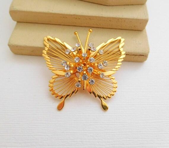 Vintage Monet Gold Tone Wire Clear Rhinestone Spray Butterfly Brooch Pin NN37