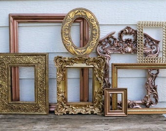 Metallic Frame Set - 8 Open Frames - Picture Frames - Scatter Frame Grouping - Wall Gallery - Gold Decor - Gold, Bronze, Rose Gold, Copper