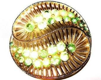 "Lime Green Brooch Signed Coro Pegasus Swirl Leaf Design Gold Metal 2"" Vintage"