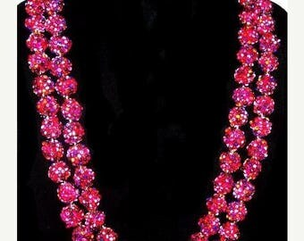 "Blackberry Sugar Bead Necklace Signed Japan Double Strand Gold Clap 22"" Vintage"