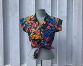 vintage crop top, Hawaiian tie top, made in Hawaii, pin up blouse, tie front blouse - 80s