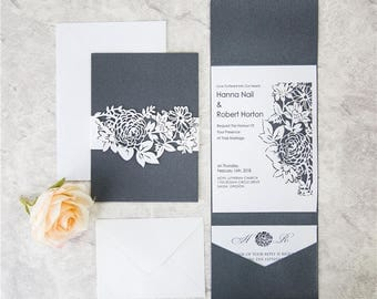 Floral Laser Cut Invitation Kit. Black and White Laser Cut Invites for Wedding.  Quince. Sweet Sixteen.  Pocket Invites. Lasercut. Colors