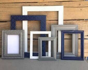 navy gray white frame set custom picture frames open or frames. Black Bedroom Furniture Sets. Home Design Ideas
