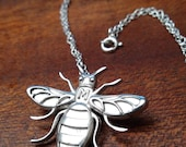 MancBee Manchester Bee silver pendant and silver pin/badge/brooch jewellery - made in Manchester