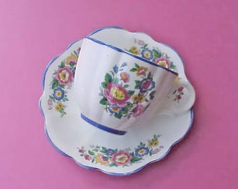 Pretty Vintage English Bone China Teacup and Saucer with Pretty Hand Painted Flowers