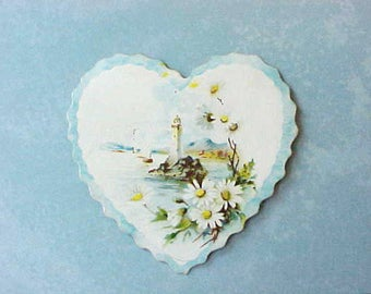 Dear Little Edwardian Era Heart Shaped Valentine with Lighthouse Motif