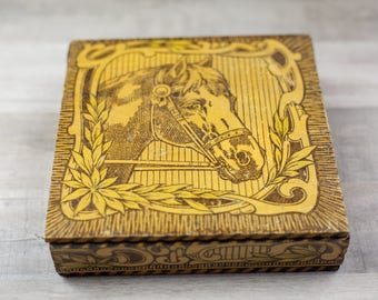 Vintage Pyrography Equestrian Horse Box