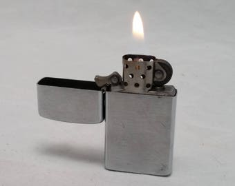 ZIPPO SLIM Brushed Chrome Fliptop Lighter - rehabbed with new flint and wick