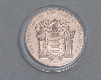 1976 NEW JERSEY Copper Medal Coin - Revolutions Crossroads with State Seal - Capsuled, uncirculated