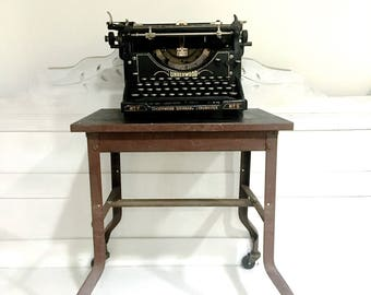 Vintage Metal Rolling Table Cart Typewriter Table Industrial Mid Century  Modern Retro