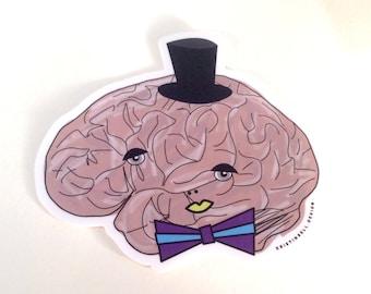 Fancy Brain with Top Hat and Bow Tie Die Cut Vinyl Sticker