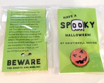 SINGLE Spooky Halloween Pumpkin Treat Button and Story 1 inch