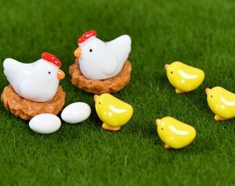 10 pcs hen chicken Terrarium Garden Miniature doll house miniature cake topper
