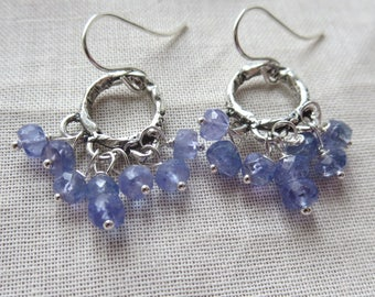 Tanzanite and Sterling Silver Rustic Boho Chandelier Earrings
