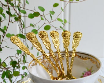 Super tiny goldplated demitasse spoons, vintage Swedish mocha cutlery, golden flatware