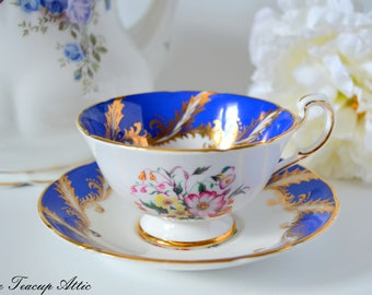 Paragon Royal Blue and White F104F Pattern Teacup and Saucer Gold Garland, English Bone China Teacup, Cabinet Teacup, ca. 1960-1963