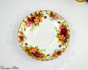 Royal Albert Old Country Roses Replacement Saucer, English Bone China Saucer, Replacement China, ca 1960-1970