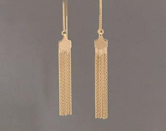 Fringe Box Chain Threader Earrings in Gold or Silver