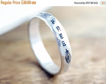 10% off sale Personalized Ring, Sterling Silver Ring, Hand Stamped Ring, Inspiration Ring, Inspirational Jewelry, Be Free, Feather Jewelry,