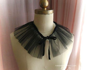Black tulle lace pleaated Collar Peter Pan Collar deco Velvet Bow, goth, gothic steampunk accessories, Cocktail Dress Partner ,choker