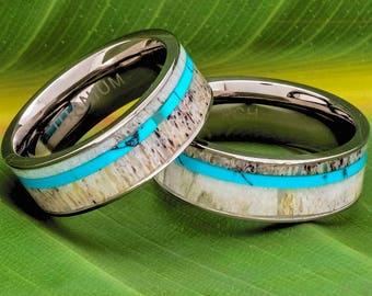 Deer Antler Ring Turquoise Inlay Titanium 8mm Comfort Fit Wedding Band