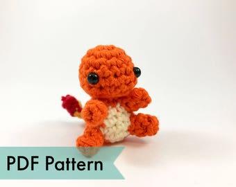 PDF Pattern for Crocheted Charmander Amigurumi Kawaii Keychain Miniature Doll Plush