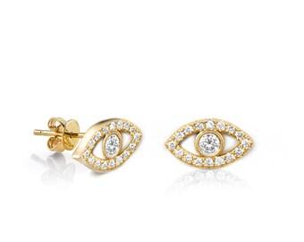 Evil Eye Earrings, Natural Diamond Studs - 14K Gold Pave Diamond Stud Earrings, Butterbly Post Gold Studs, Eye Diamond Earrings