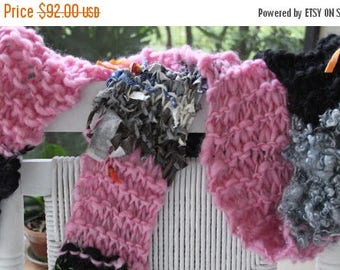 XMAS IN JULY up to 50%off Sale Super Bulky Hand Knit Scarf, in Pink, Gray Locks, Black, Brown, Flowers, Material Pieces of Super Soft Handsp