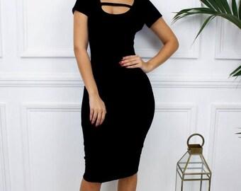 ON SALE Womens Ladies 'Alex' Low Cut Short Sleeve Scoop Back Black Backless Midi Pencil Bodycon Dress