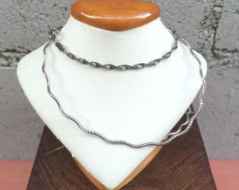 Sterling Silver Necklace and Bracelet Set Vintage Silver Chain San Marcos Link Sterling Silver Squiggle Necklace Set