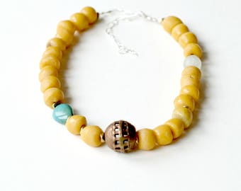 Yellow necklace, African yellow trade bead necklace, Choker necklace, African  necklace women, Tribal bead necklace, Best Selling items