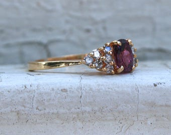 Classic Vintage Ruby and Diamond Ring Engagement Ring in 14K Yellow Gold - 1.24ct.