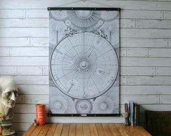 Celestial Map Chart / Vintage Reproduction / Canvas Fabric or Paper Print / Oak Wood Hanger and Brass Hardware / Organic Milk Paint Finish