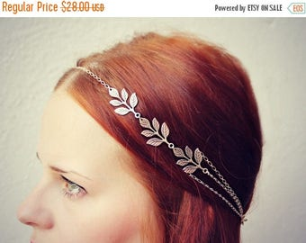 VACATION SALE silver leaves head chain, chain headband, grecian headband, metal headband, unique headband